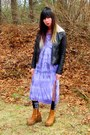 Tawny-wedge-thrifted-boots-light-purple-tie-dye-vintage-dress