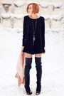 Black-topshop-boots-black-nowistyle-dress-salmon-nowistyle-coat