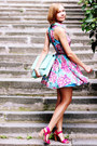 Hot-pink-floral-print-rare-dress-light-blue-clutch-asos-bag