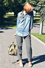 Denim-shirt-h-m-shirt-olive-green-army-topshop-bag-checkered-asos-pants