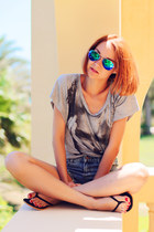 Sheinside shorts - zeroUV sunglasses - Obsession 4 fashion top