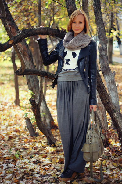gray maxi skirt asos skirt - black biker Vero Moda jacket