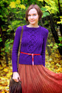Deep-purple-knit-and-cute-sweater-dark-brown-fringe-oasis-bag-asos-skirt