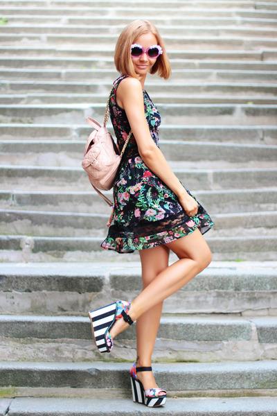 Bellast bracelet - AX Paris dress - asos bag - zeroUV sunglasses - next wedges