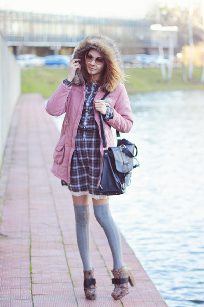 very simple dress - Sheinside coat - falke socks - zeroUV sunglasses