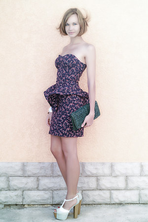 peplum Oasis dress - green straw Topshop bag - asos heels