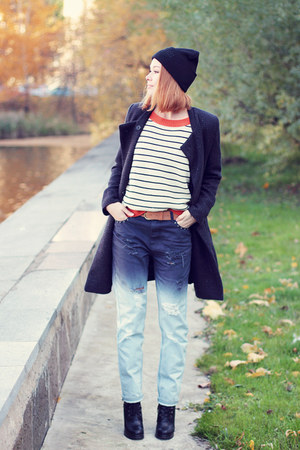 evil twin jeans - Sheinside coat - Brian Lichtenberg hat - Sheinside sweater