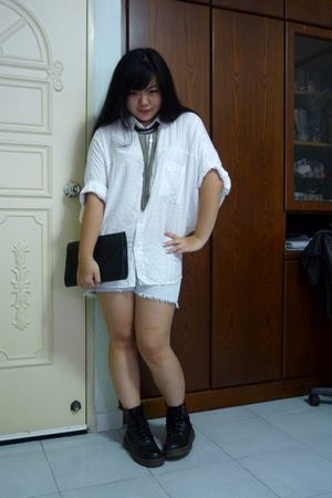 white shirt - blue cotton on shorts - black GoJane shoes - black vintage purse -