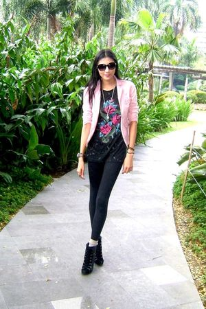 black boots - black leggings - pink blazer - black shirt - beige socks
