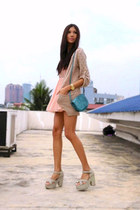 turquoise blue Mango bag - off white Blowfish shoes - peach random dress
