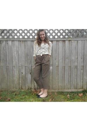 pants - gold locket necklace - ivory ivory lace blouse