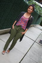 Urban Outfitters blouse - intermix pants - Express cardigan - Steve Madden shoes