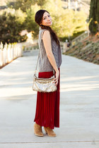 maxi skirt and sweater vest