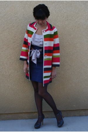 red vintage jacket - blue modcloth dress - gray Forever 21 tights - gray asos sh
