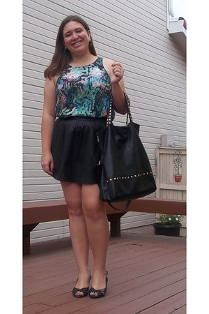 Forever 21 skirt - Urban Outfitters bag - Fioni heels - H&M top
