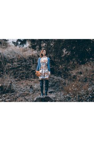 textured knit Reiss cardigan - Kurt Geiger boots - lotus print Reiss dress