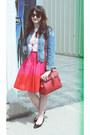 Sky-blue-denim-bluenotes-jacket-red-tassel-detail-aldo-accessories-bag-black