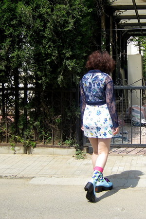 light blue taobao shoes0 shoes - white Gap dress - navy H&amp;M shirt - blue next so