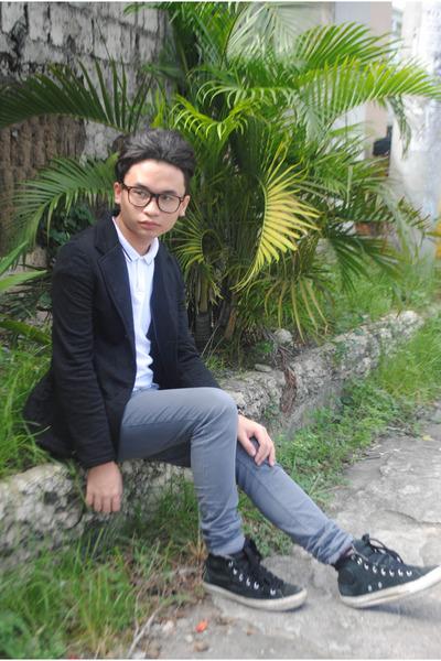 black black Penshoppe blazer - heather gray skinny Forever 21 jeans