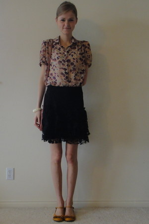 Nordstrom bag - floral chiffon Urban Outfitters blouse - mustard yellow Target w