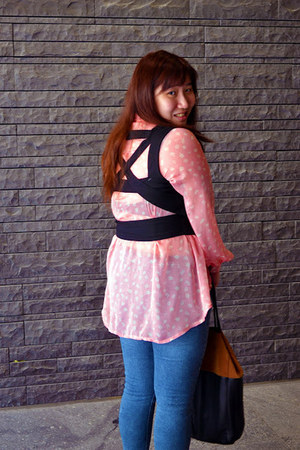 black cut-out Forever 21 vest - blue Topshop jeans - tawny H&M bag