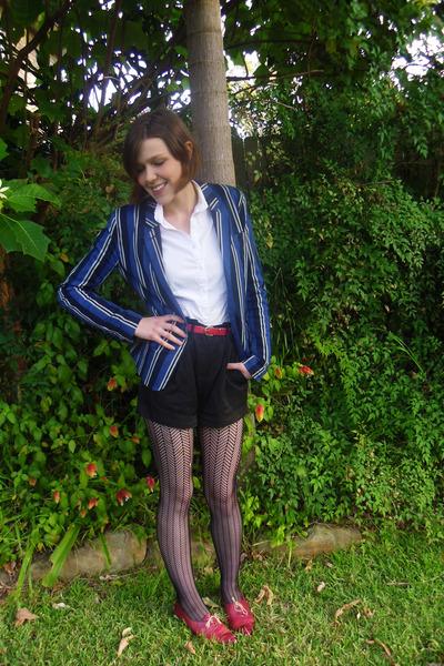 blue striped ben sherman blazer - Dotti shorts - white cotton SUPRÉ blouse
