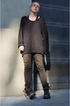 H&M sweater - American Apparel top - Helmut Lang jeans - undercover boots