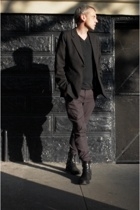 league of gentlemen jacket - kris van assche t-shirt - Endovanera pants - to boo