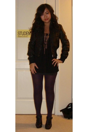 black Nitrogen jacket - black Aldo shoes - purple H&M stockings
