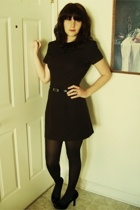 vintage dress - belt - tights - payless shoes