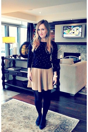 camel H&M skirt - black beaded thrift sweater