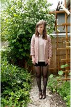 light pink H&M blazer - black lace asos shorts