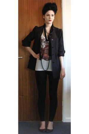 Topshop coat - balenciaga t-shirt - Topshop leggings - Newlook shoes