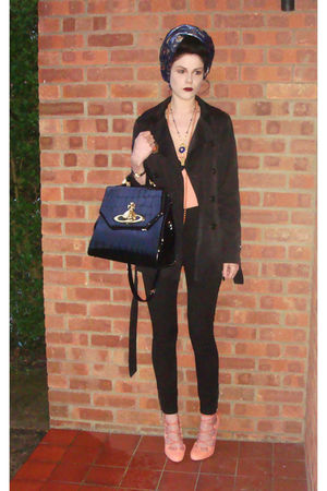 pink asos shoes - black vivienne westwood bag - pink H&amp;M vest - blue Topshop car