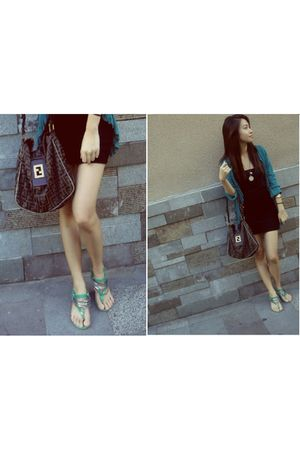 green cardigan - green bazaar shoes - black H&M dress - brown Fendi bag