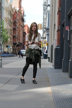 black short boots H&M boots - black faux leather Zara leggings