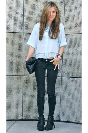 light blue silk SANDRO top - dark gray cut out Matisse boots