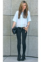 light blue silk SANDRO top - dark gray cut out Matisse boots