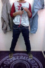 Ruby-red-printed-friendshell-t-shirt-blue-slim-fit-levis-pants-brown-adidas-