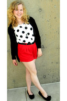 red crop top Forever 21 shorts - crimson sequins Forever 21 sweater