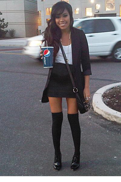 blue Forever 21 skirt - black Topshop blazer - black Legavenue leggings