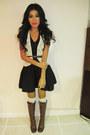 Ivory-crochet-forever21-vest-black-h-m-skirt