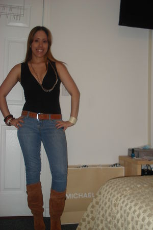 orange Michael Kors boots - black INC MACYS shirt - blue Forever 21 jeans - oran