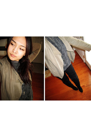 army green jacket - black suede boots - dark gray Target t-shirt