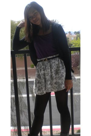 purple top - black belt - skirt - black tights - black cardigan