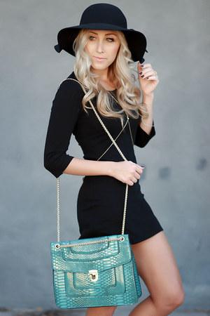 turquoise blue shoulder bag Mellow World bag - black bodycon Mossimo dress