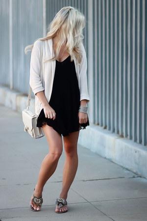 black lace slip Forever 21 dress - beige light Forever 21 cardigan