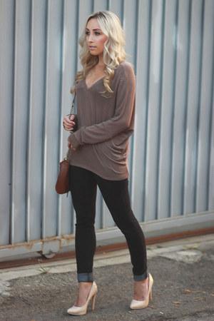 black denim White House Black Market jeans - brown dolman enti sweater