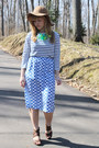 Camel-h-m-hat-navy-striped-stylemint-shirt-blue-polka-dot-thrifted-skirt