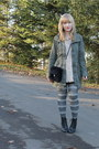 charcoal gray Claires tights - army green Eddie Bauer jacket